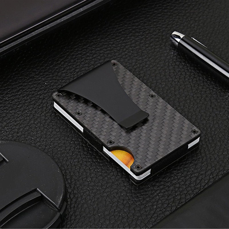 Men's fashion carbon fiber wallet elastic short card holder wallet