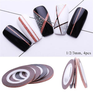 3Pcs rose gold 1mm 2mm 3mm sticker nail strip tape line frosted glitter sticker