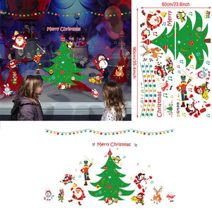 2020 Merry Christmas Window Glass Wall Sticker Holiday Wall Sticker Santa Claus Mural Christmas Home Decoration