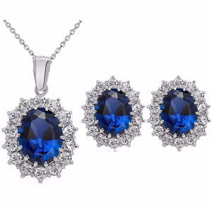 Fashion blue crystal stone jewelry set lady silver necklace set
