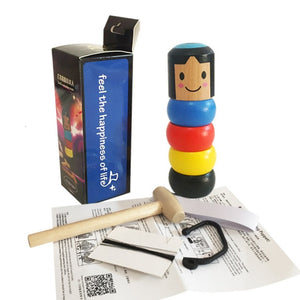 Stubborn tumbler wooden man magic toy