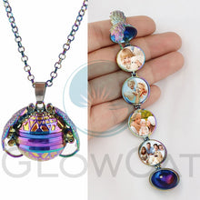 Load image into Gallery viewer, Rainbow Magic 4 Photo Pendant Memory Necklace Without Photos Angel Wings Glitter Fashion Album Box Necklace