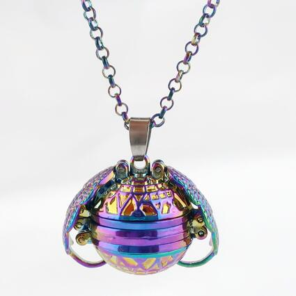 Rainbow Magic 4 Photo Pendant Memory Necklace Without Photos Angel Wings Glitter Fashion Album Box Necklace