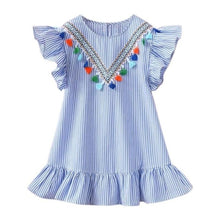 Load image into Gallery viewer, Girls summer fringed sleeves striped dress party girl princess dress top clothes