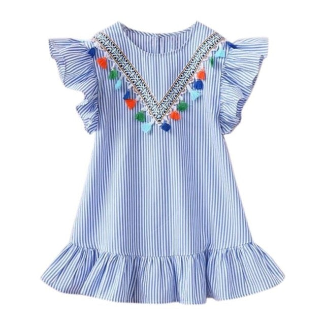 Girls summer fringed sleeves striped dress party girl princess dress top clothes