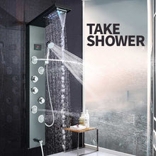 Load image into Gallery viewer, LED light shower panel waterfall shower faucet set SPA massage jet bath
