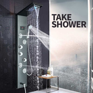 LED light shower panel waterfall shower faucet set SPA massage jet bath