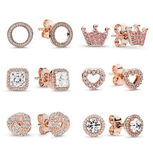Load image into Gallery viewer, Women's anti-allergic crown love round earrings latest ladies rose gold exquisite earrings