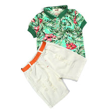 Load image into Gallery viewer, Alice new fashion Boyl solid color short-sleeved suit + shorts 2 pieces/set