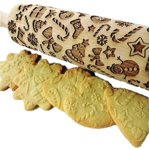 New Leaf Christmas Deer Wooden Multi-purpose Roll Stick, Biscuit Dough Cake Christmas Pattern Printing