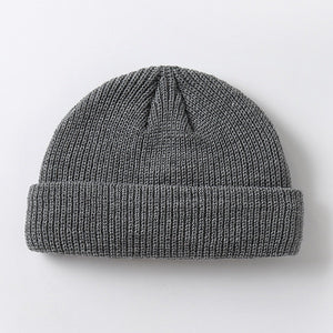 Men's winter knitted hat boys toque cap sailor cap cuff short cap solid color neutral autumn warm hat