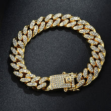 Load image into Gallery viewer, Silver full color paved rhinestone necklace + watch + bracelet Miami hip hop curb Cuban chain