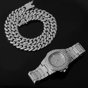 Silver full color paved rhinestone necklace + watch + bracelet Miami hip hop curb Cuban chain