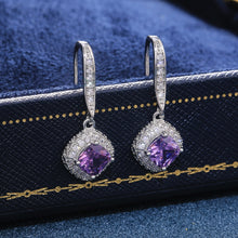 Load image into Gallery viewer, Huitan's new silver square sparkling drop earrings zircon elegant female jewelry