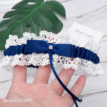 Load image into Gallery viewer, Blue Wedding Lace Garter Belt Bridal Souvenir Flower Rhinestone Bow Thigh Ring