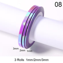 Load image into Gallery viewer, 3Pcs rose gold 1mm 2mm 3mm sticker nail strip tape line frosted glitter sticker