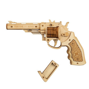 Robotime gun building blocks DIY revolver, wooden toy with rubber bullet bullet, adult and child gift