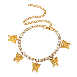 Fashion Butterfly Anklet Rhinestone Tennis Chain Anklet Women's Summer Beach Anklet