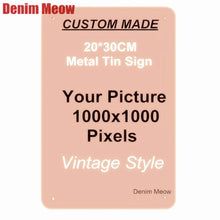 Load image into Gallery viewer, 20x30cm / 15x30cm / 30x30cm custom metal tin signage home wall sticker custom license plate