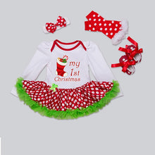 Load image into Gallery viewer, Christmas costume suit baby girl dress pure cotton mesh ruffled girl baptism gown 4 piece set