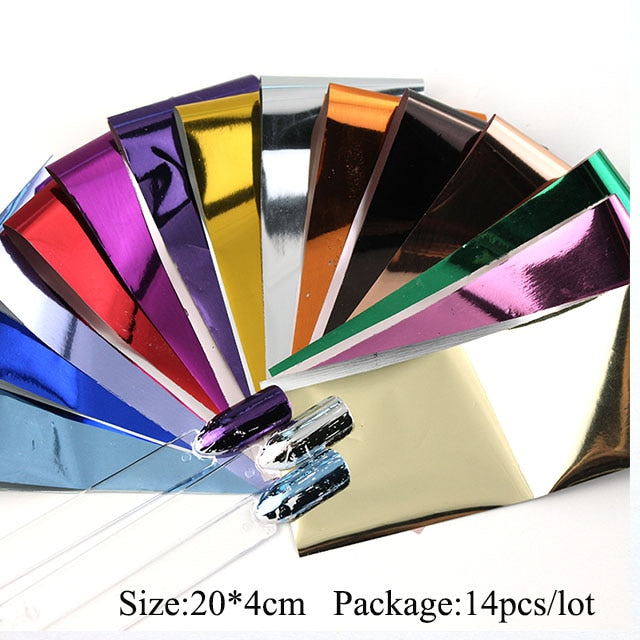 14 pieces nail polish holographic film foil packaging sticker paper nail decoration set