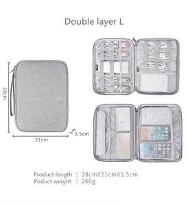 Travel cable storage bag for USB data cable earphone cable