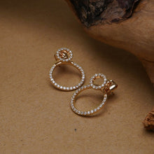 Load image into Gallery viewer, Densely packed zircon front and back round earrings women