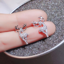 Load image into Gallery viewer, Christmas elk crystal deer earrings ladies Christmas earrings