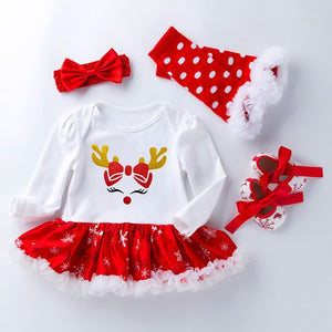 Christmas costume suit baby girl dress pure cotton mesh ruffled girl baptism gown 4 piece set
