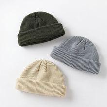 Load image into Gallery viewer, Men's winter knitted hat boys toque cap sailor cap cuff short cap solid color neutral autumn warm hat