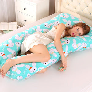 PW12 100% cotton rabbit printing U-shaped pillow for pregnant women