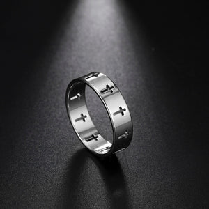 Stainless steel silver couple ring cross engagement wedding gift,