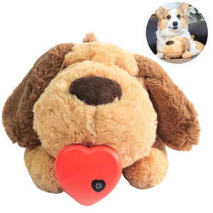 Pet dog plush toy Comfortable behavior training auxiliary toy Heartbeat soothing plush doll