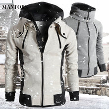 Load image into Gallery viewer, Men's autumn and winter casual zipper jacket bomber jacket scarf collar fashion hooded men's jacket slim hooded jacket