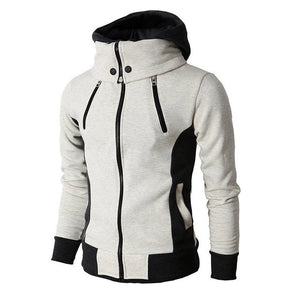 Men's autumn and winter casual zipper jacket bomber jacket scarf collar fashion hooded men's jacket slim hooded jacket
