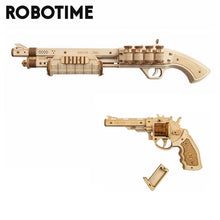 Load image into Gallery viewer, Robotime gun building blocks DIY revolver, wooden toy with rubber bullet bullet, adult and child gift