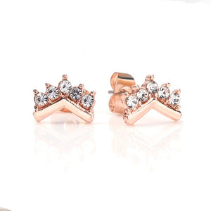 Women's anti-allergic crown love round earrings latest ladies rose gold exquisite earrings