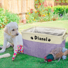 Load image into Gallery viewer, Free customized pet dog toy storage box printed canvas storage box foldable storage bag