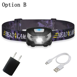 6000Lm rechargeable LED strong headlight with USB, suitable for camping etc.