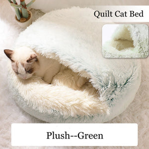 New pet round plush bed semi-enclosed pet house, comfortable cat bed, small cushion basket, soft dog house