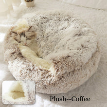Load image into Gallery viewer, New pet round plush bed semi-enclosed pet house, comfortable cat bed, small cushion basket, soft dog house