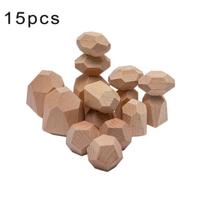 Baby Wooden Jenga Building Block Toys Color Stone Creative Educational Toys Nordic Style Stacking Game Rainbow Stone Wooden Toys