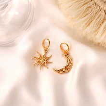 Load image into Gallery viewer, LATS New Women's Short Hollow Earrings Sun Moon Dangle Earrings Asymmetric Abstract Star Earrings