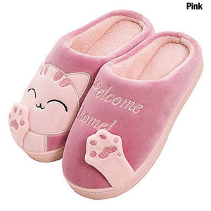 Winter home slippers indoor bedroom couple floor shoes cartoon cat shoes non-slip soft winter warm house slippers