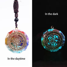 Load image into Gallery viewer, Sacred Geometry Chakra Energy Necklace Orgonite Pendant Sri Yantra Necklace Meditation Jewelry