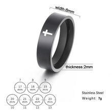 Load image into Gallery viewer, Stainless steel silver couple ring cross engagement wedding gift,