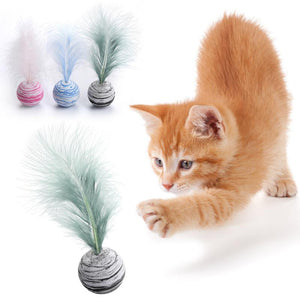 1 piece of funny cat toy EVA material lightweight foam ball throwing toy star texture feather toy ball