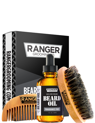 Beard Kit - Fragrance Free Beard Oil, Boar Bristle Brush + Comb Set