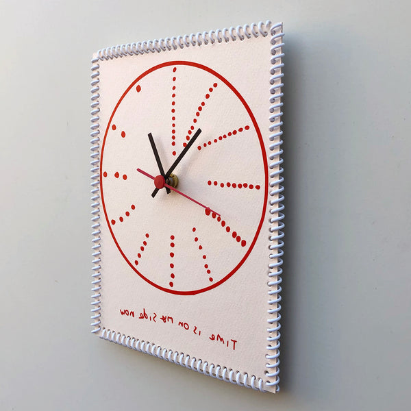 """Time is on my side now"" wall clock (dots reverse)"