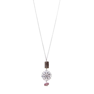 Pink Opla Rhodochrosite Flower Necklace